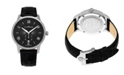 Stuhrling Alexander Watch A102-02, Stainless Steel Case on Black Embossed Genuine Leather Strap