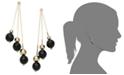 Macy's 14k Gold Earrings, Faceted Onyx 3-Drop Earrings (9 ct. t.w.)