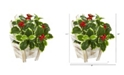 """Nearly Natural 11"""" Variegated Holly Leaf Artificial Plant in Chair Planter Real Touch"""