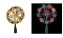 "Northlight 7"" Gold Tinsel Snowflake Starburst Christmas Tree Topper - Multi Lights"