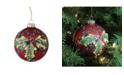 "Northlight 4"" 100mm Holiday Moments Geometric Plaid Mistletoe Ball Glass Christmas Ornament"