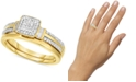 Promised Love Diamond Square Cluster Engagement Ring (1/4 ct. t.w.) in 14k Gold-Plated Sterling Silver or Sterling Silver