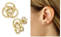Macy's Diamond Accent Love Knot Earrings in 14K Yellow Gold