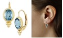 Macy's Gemstone Twist Gallery Drop Earring in 14k Yellow Gold Available in Amethyst, Blue Topaz, Citrine, Garnet  or Peridot