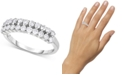 Forever Grown Diamonds Lab-Created Diamond Two-Row Statement Ring (3/4 ct. t.w.) in Sterling Silver