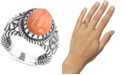 American West Orange Spiny Oyster Flower Statement Ring in Sterling Silver