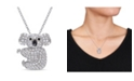 Macy's Created White Sapphire (1 1/20 ct. t.w.) and Black Spinel Accent Koala Necklace in Sterling Silver