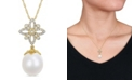 """Macy's South Sea Cultured Pearl (11-12mm) and Diamond (1/4 ct. t.w.) Floral Drop 17"""" Necklace in 14k Yellow Gold"""