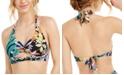 Bar III Hidden Jungle Printed Keyhole Halter Bikini Top, Created for Macy's