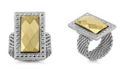 2028 Silver-Tone and Gold-Tone Mesh Ring