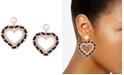 GUESS Gold-Tone Imitation Pearl, Crystal & Black Woven Heart Drop Earrings