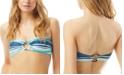 Carmen Marc Valvo Striped Ring-Front Bandeau Bikini Top