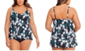 Swim Solutions Plus Size Printed Layered Tummy-Control One-Piece Swimsuit, Created for Macy's