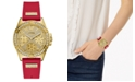 GUESS Women's Red Silicone Strap Watch 40mm