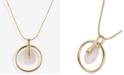 "Lucky Brand Gold-Tone Crystal Orbital Pendant Necklace, 17"" + 2"" extender"
