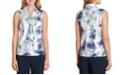 Tahari ASL Sleeveless Printed Tie-Neck Top