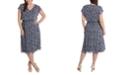 MSK Plus Size Smocked-Waist Chiffon Midi Dress