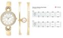 Anne Klein use page 2939777 Women's Imitation Pearl Gold-Tone Bangle Bracelets and Watch Set 30mm AK-1960GBST