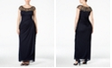 XSCAPE Plus Size Illusion Beaded Gown