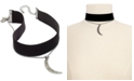 INC International Concepts I.N.C. Silver-Tone Two-Layer Moon & Velvet Choker Necklace, Created for Macy's