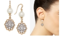 Charter Club Two-Tone Crystal Filigree & Imitation Pearl Drop Earrings, Created for Macy's