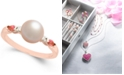 Macy's Pink Cultured Freshwater Pearl (7mm), Pink Tourmaline (1/5 ct. t.w.) & Diamond Accent Ring in 14k Rose Gold