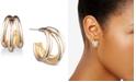 Anne Klein Gold-Tone Multi-Row Small Hoop Earrings