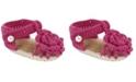 Baby Deer Baby Girl T-Strap Sandal in Fuchsia with Flower Overlay