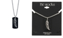 """He Rocks Angel Wing and Leather Dog Tag 24"""" Pendant Necklace in Stainless Steel"""