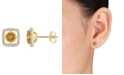 Macy's Citrine (7/8 ct. t.w.) and Diamond Accent Halo Square Stud Earrings in 10k Yellow Gold