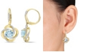 Macy's Blue Topaz (4-3/4 ct. t.w.), White Topaz (1/2 ct. t.w.) Interlaced Floral Swirl Earrings in 18k Yellow Gold Over Sterling Silver