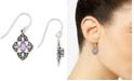 Macy's Amethyst (1/2 ct. t.w.) &  Marcasite Flower Drop Earrings in Sterling Silver