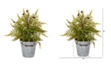 """Nearly Natural 20"""" Fern Artificial Plant in Vintage Metal Bucket"""