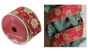 """Northlight Pack of 12 Cranberry Red and Gold Poinsettia Burlap Wired Christmas Craft Ribbon Spools - 2.5"""" x 120 Yards Total"""