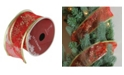 """Northlight Pack of 12 Cranberry Red and Gold Glitter Snowflakes Wired Christmas Craft Ribbon Spools - 2.5"""" x 120 Yards Total"""