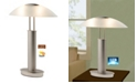 Artiva USA 2 Tone Satin Nickel LED Touch Table Lamp with Oval Canoe and Frosted Glass Shade