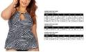 Raisins Curve Trendy Plus Size Juniors' Mombasa Printed Rosalie Underwire High Neck Underwire Tankini Top