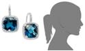 Macy's 14k White Gold Earrings, London Blue Topaz (10 ct. t.w.) and Diamond (1/3 ct. t.w.) Leverback Earrings