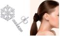 Macy's Cubic Zirconia Snowflake Stud Earrings in Fine Silver Plate