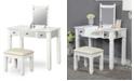 Furniture of America Oldham 2-Piece Wood Vanity Table And Stool Set