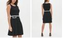Tommy Hilfiger Scuba Crepe Contrast Trim Fit & Flare Dress