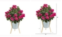 Nearly Natural 28in. Bougainvillea Artificial Plant in Green Planter with Legs
