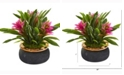 Nearly Natural 11in. Bromeliad Artificial Plant in Stoneware Planter