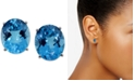Macy's Blue Topaz Stud Earrings (11 ct. t.w.) in 14k White Gold