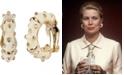 Grace Kelly Collection 18k Gold Plated Enameled Hoop Pierced Earring