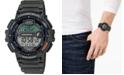 Casio Men's Digital Fishing Gear Green Resin Strap Watch 47mm