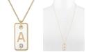 "RACHEL Rachel Roy Gold-Tone Initial White Tag Pendant Necklace, 24"" + 2"" extender"