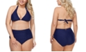 Raisins Curve Trendy Plus Size Juniors' Solid Barbados Slide Bikini Top & Costa High-Waist Tummy-Control Bikini Bottoms