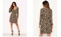 AX Paris Women's Leopard Print Elasticated Waist V-Neck Dress