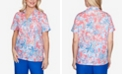 Alfred Dunner Plus Size Floral Burnout Short Sleeve Woven Shirt